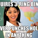 Unhelpful teacher 3-ring binder