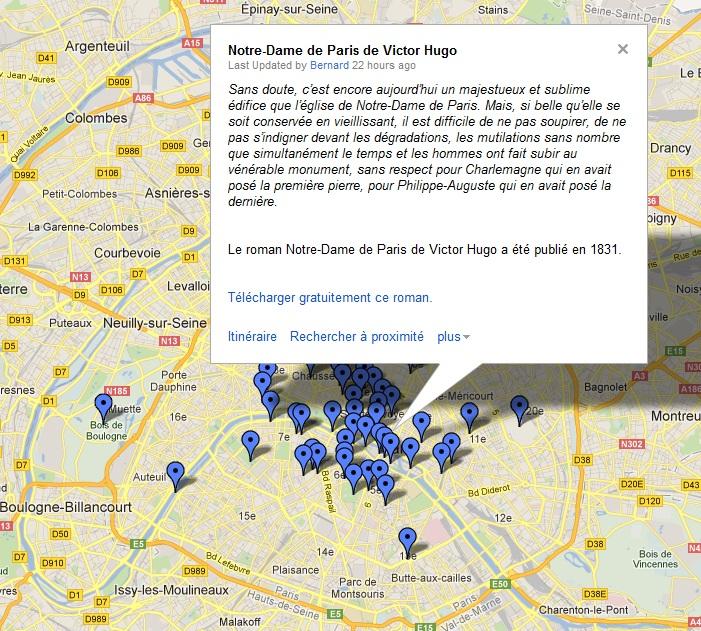 Découvrir Paris à l'aide d'extraits de livres géolocalisés
