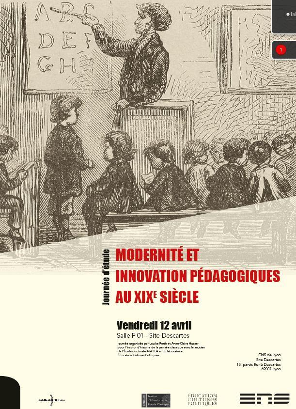 12 avril : journée d'étude «Modernité et innovation pédagogiques au XIXe siècle» à l'ENS de Lyon