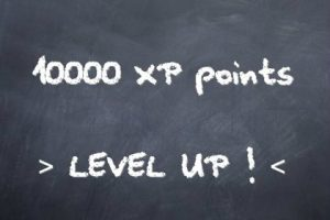 Level up craie sur tableau noir