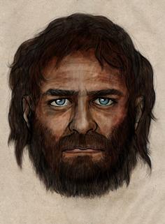 Portrait d'un des premiers Européens : cheveux noirs et yeux bleus