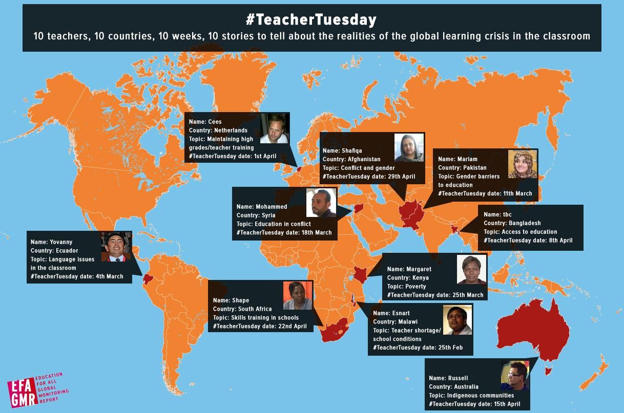 10 enseignants du monde racontent leur quotidien sur Twitter