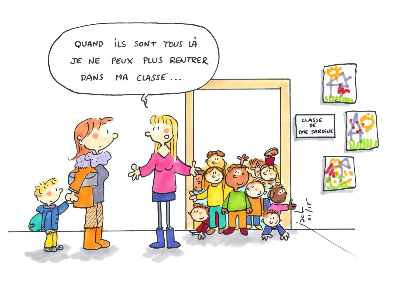 Maternelle en classe des l ves serr s comme des sardines vousnousils - Dessin classe ...
