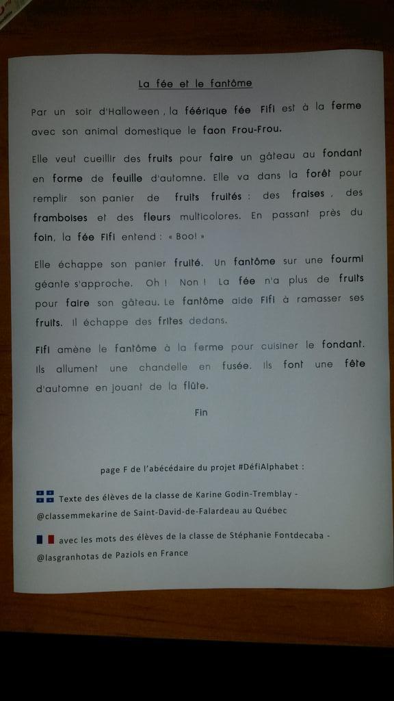 Le texte de @classeMmeKarine (St-David-de-Falardeau, Canada) avec les mots de @lasgranhotas (Paziols, France)
