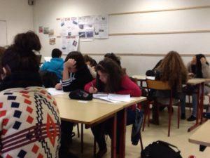 Les élèves d'Olivier Quinet pendant le temps de classe.