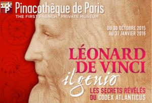 L'affiche de l'exposition Léonard de Vinci Il Genio © Pinacothèque de Paris
