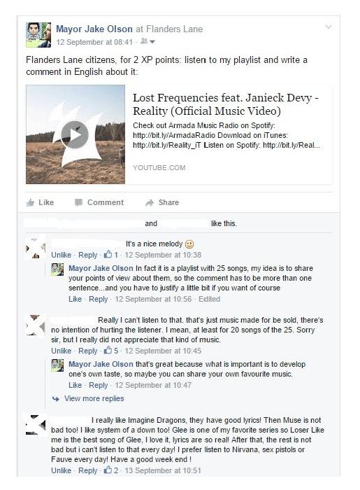 Un exemple d'interactions entre élèves sur Facebook, dans le cadre de Flanders Lane.