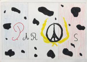 """Classe de Yann Houry / """"Rouge : Paris en sang. Drapeau tacheté de noir : deuil. Laurier : victoire"""". Gabin, en 6e3."""