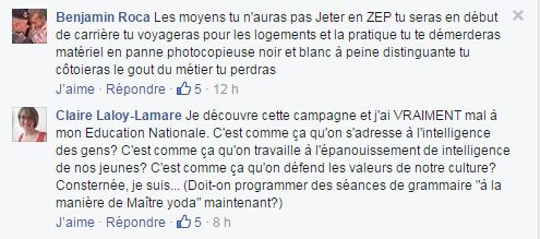 Commentaires Facebook education nationale