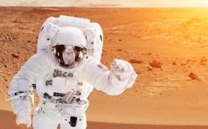 Astronaut on the Mars - Elements of this image furnished by NASA