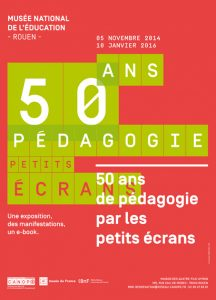 """L'affiche de l'exposition """"50 ans de pédagogie par les petits écrans"""""""