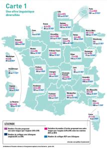La nouvelle carte académique des langues vivantes © MENESR