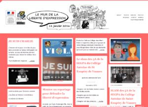 """Le """"mur virtuel"""" du Clemi, sur lequel collégiens et lycéens de toutes les académies ont posté leurs productions sur la liberté d'expression."""
