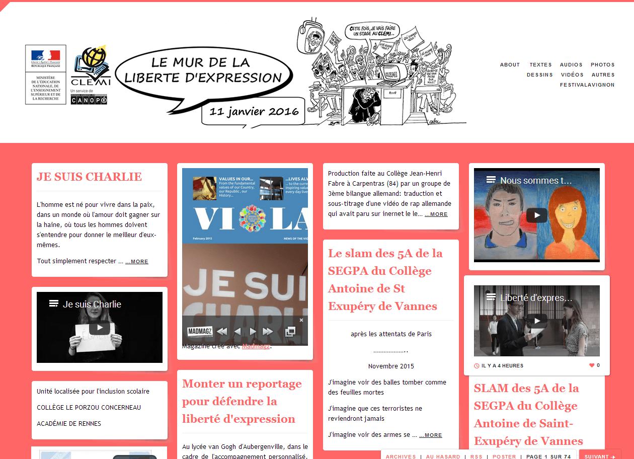 Liberté d'expression : les productions des collégiens et lycéens regroupées sur un «mur virtuel» (Clemi)