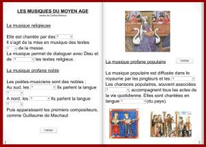 """""""Les Musiques du Moyen-Âge"""" / Un """"livre interactif"""" conçu par I. Bougault et proposé sur son site à ses 5e"""
