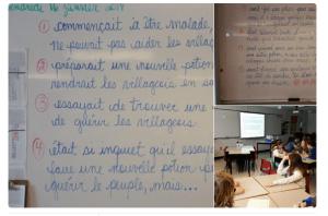 Romance Cornet a organisé un conte collaborative avec deux classes canadiennes, ici celle de @classenadine.