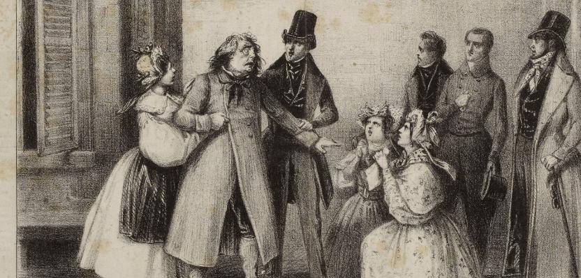 Théâtre des Variétés, Le Père Goriot : estampe / Bouchot [sig.] ; Lith. Delaunois / BNF