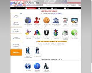 Capture écran site 1,2,3 Anglais