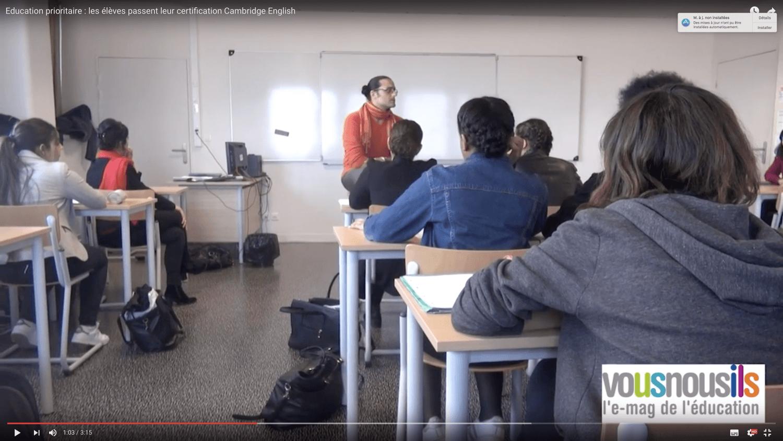 Education prioritaire : les élèves passent leur certification Cambridge English