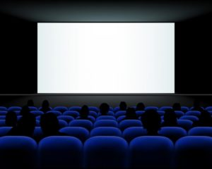Cinema auditorium with seats, peoples and blank screen © Jaroslav Machacek