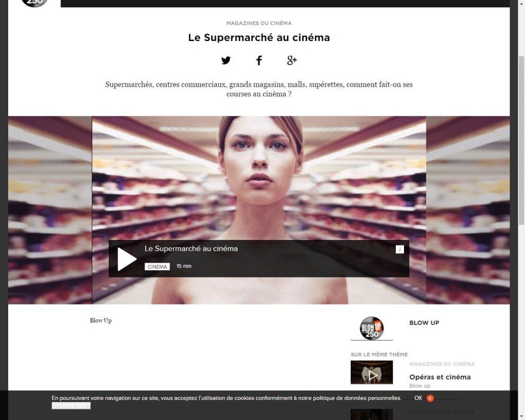 Capture écran site Blow Up - Le supermarché au cinéma