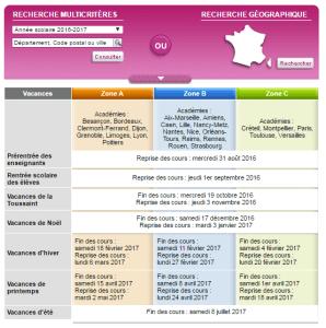 Le calendrier scolaire 2016-2017