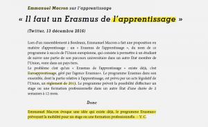 """""""Emmanuel Macron propose un Erasmus de l'apprentissage, """"une mesure qui existe déjà"""" / Les Surligneurs"""