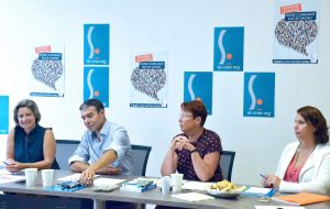 Laetitia Barel, Stéphane Crochet, Claire Krepper, et Angelina Bled-Pastorino ; secrétaires nationaux du SE UNSA ; lors de la conférence de rentrée du syndicat.