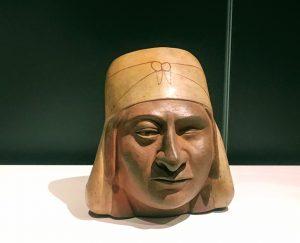 """Timbale, """"huaco"""" avec turban et cache-cou, Moche, 300-400 ap JC, céramique / expo """"Le Pérou avant les Incas"""", musée du Quai Branly"""