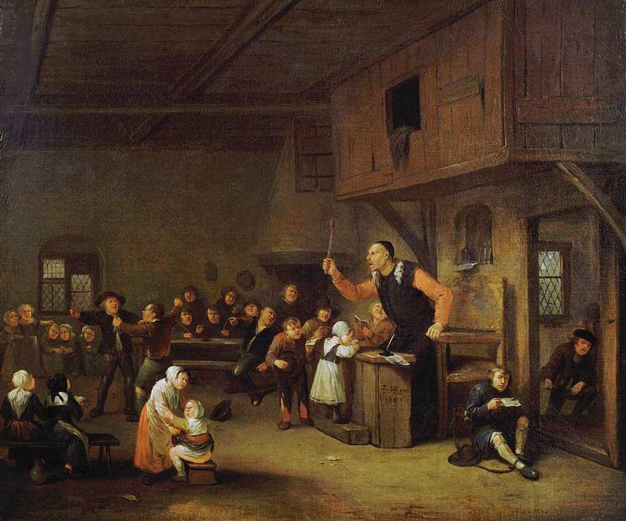Peinture - Egbert van Heemskerck, Le maître d'école,1687