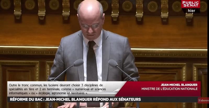 Devant les sénateurs, Blanquer défend sa réforme du lycée et du bac