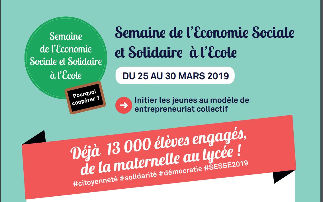La Semaine de l'économie sociale et solidaire à l'école débute aujourd'hui