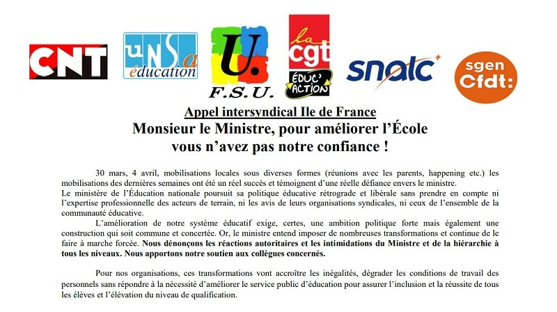 Une intersyndicale d'Ile-de-France appelle à la mobilisation dans l'éducation jusqu'au 18 avril
