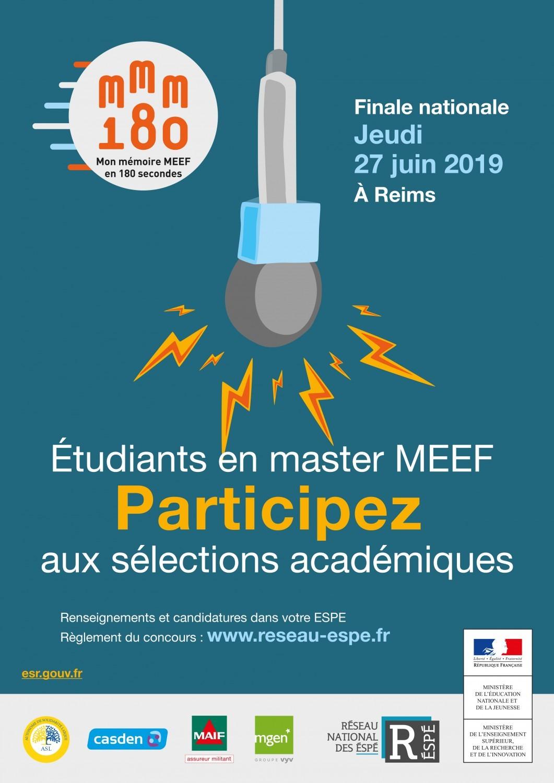 «Mon mémoire MEEF en 180 secondes» : finale du concours le 27 juin à Reims