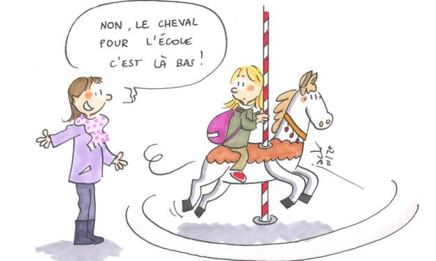 Un cheval pour aller à l'école