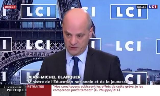 Tous les personnels de l'Education nationale seront concernés par l'augmentation de salaire, selon Jean-Michel Blanquer