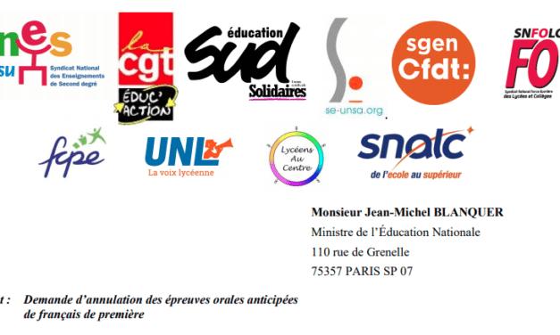 BAC : L'intersyndicale demande l'annulation de l'épreuve orale de français