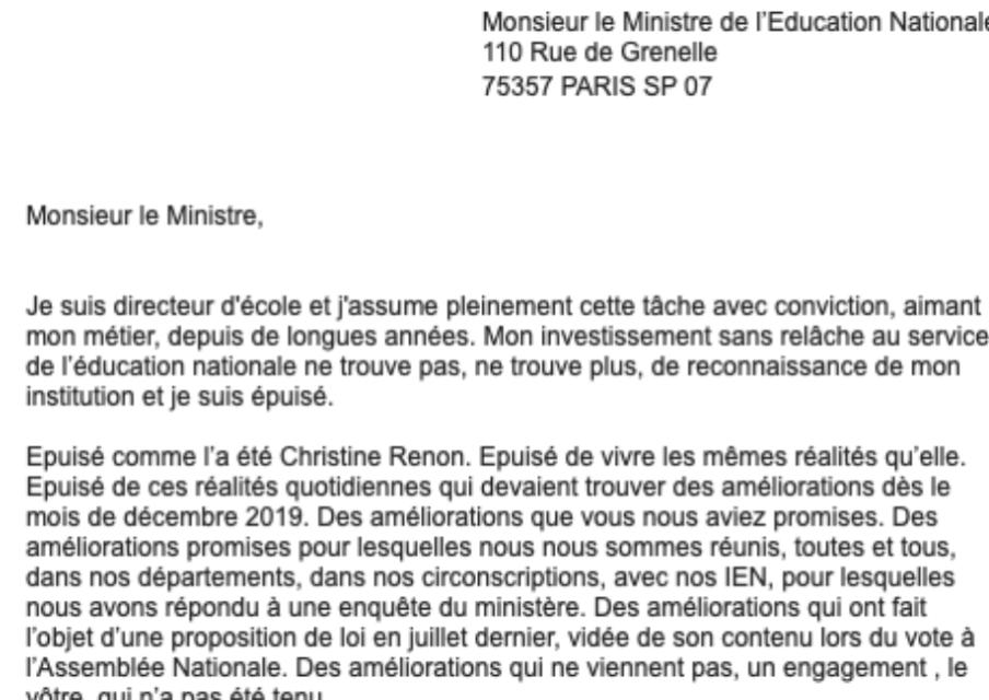 Un millier de directeurs d'écoles écrivent à Jean-Michel Blanquer